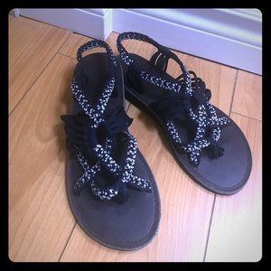 Navy blue & white strap sandals